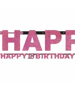 Girlande Happy Birthday 18 in pink