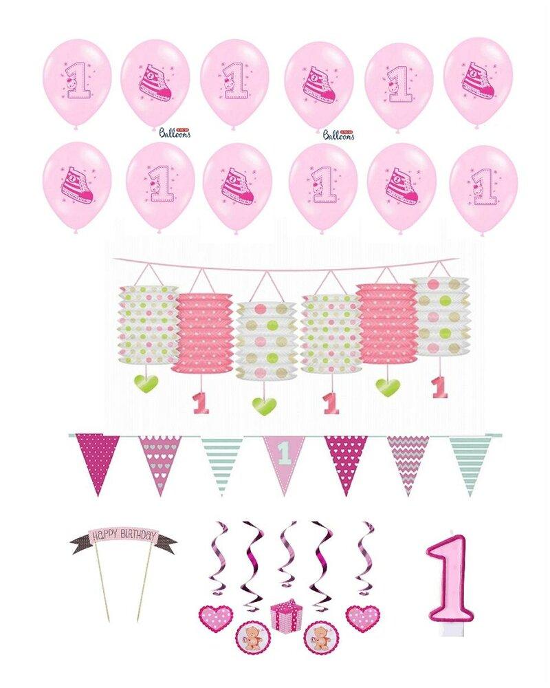 Feste Feiern Zum Ersten 1 Geburtstag Mädchen I 17 Teile Deko Zur Kind
