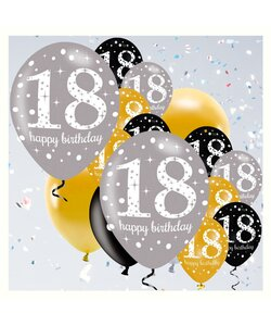 18 Teile Happy Birthday Luftballons 18 in gold