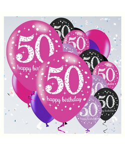 18 Teile Happy Birthday Luftballons 50 in pink