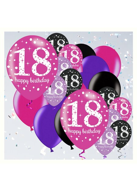 18 Teile Happy Birthday Luftballons 18 in pink