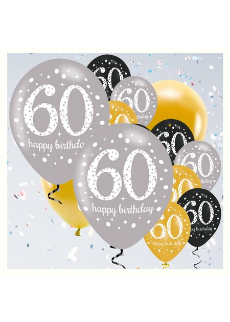 18 Teile Happy Birthday Luftballons 60 in gold