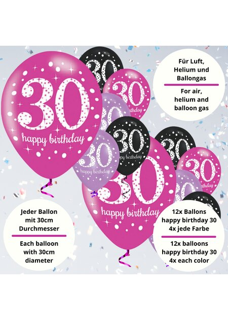 18 Teile Happy Birthday Luftballons 30 in pink