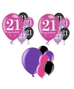 18 Teile Happy Birthday Luftballons 21 in pink