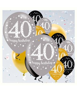 18 Teile Happy Birthday Luftballons 40 in gold