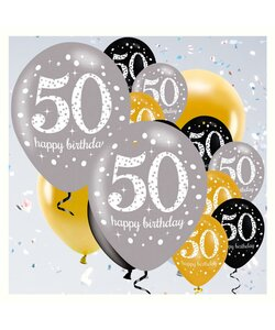 18 Teile Happy Birthday Luftballons 50 in gold