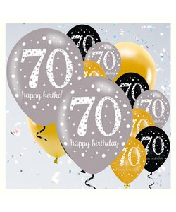 18 Teile Happy Birthday Luftballons 70 in gold