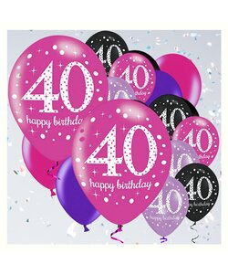 18 Teile Happy Birthday Luftballons 40 in pink