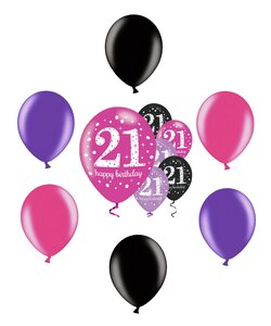 12 Teile Happy Birthday Luftballons 21 in pink