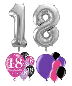 14 Teile Happy Birthday Zahlenballon 18 in Pink Silber