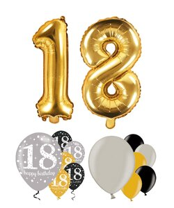 14 Teile Happy Birthday Zahlenballon 18 in gold