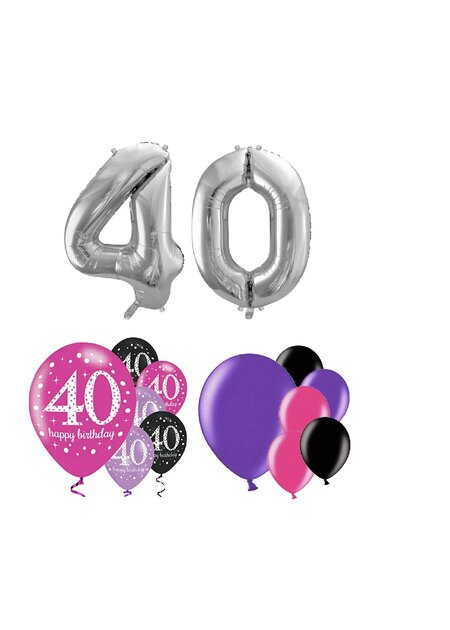 14 Teile Happy Birthday Zahlenballon 40 in pink silber