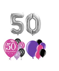 14 Teile Happy Birthday Zahlenballon 50 in Pink Silber
