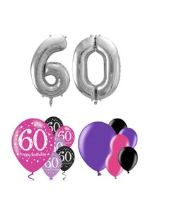 14 Teile Happy Birthday Zahlenballon 60 in Pink Silber