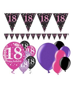 13 Teile Happy Birthday Wimpel 18 in pink