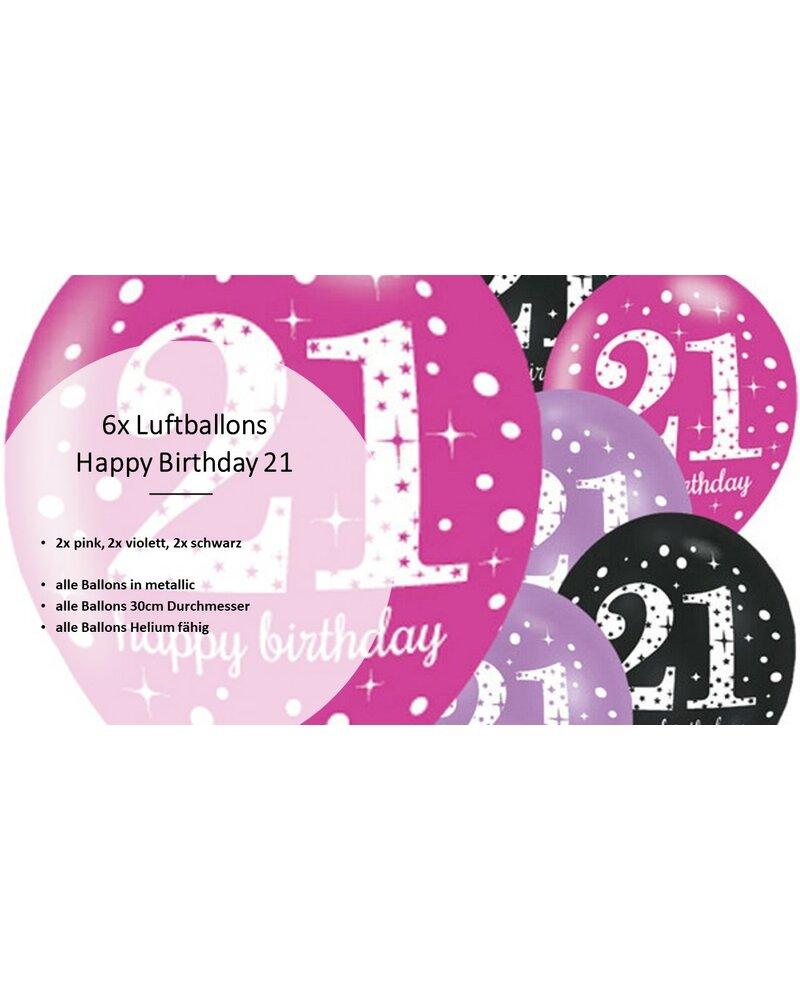 18 Geburtstag13 Teile Wimpelkette Luftballons pink schwarz lila Deko Set