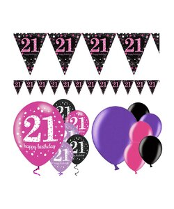 13 Teile Happy Birthday Wimpel 21 in pink