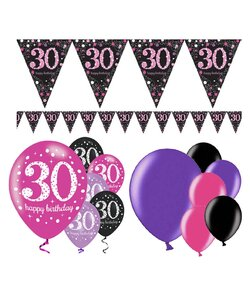 13 Teile Happy Birthday Wimpel 30 in pink