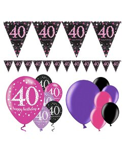 13 Teile Happy Birthday Wimpel 40 in pink