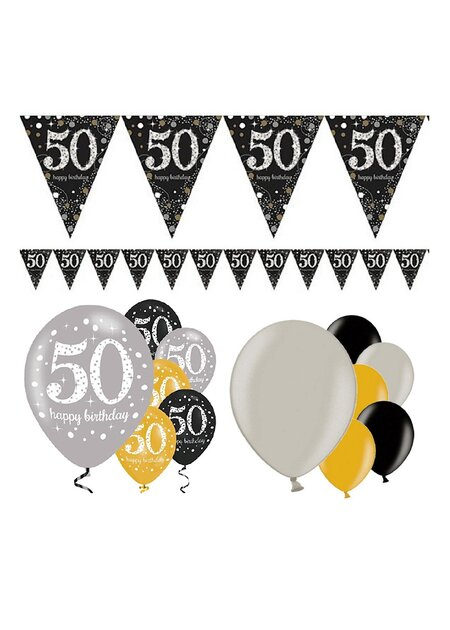 13 Teile Happy Birthday Wimpel 50 in gold