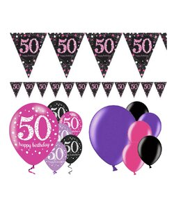 13 Teile Happy Birthday Wimpel 50 in pink