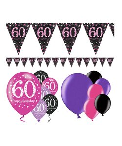 13 Teile Happy Birthday Wimpel 60 in pink
