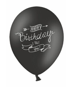 10x Luftballons in Schwarz - Happy Birthday Banner