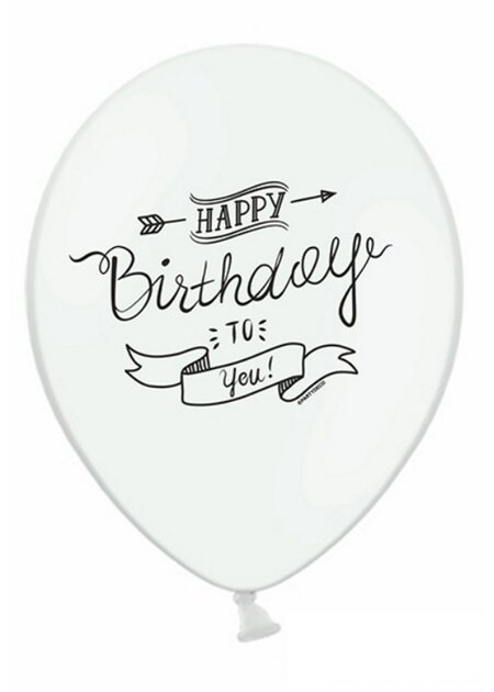 10x Luftballons in Weiss - Happy Birthday Banner