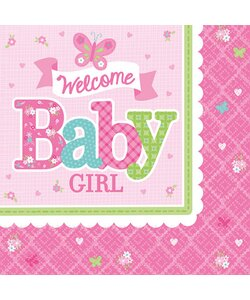 Servietten Welcome Baby Girl 33x33cm