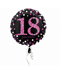 Folienballon Happy Birthday 18 in pink