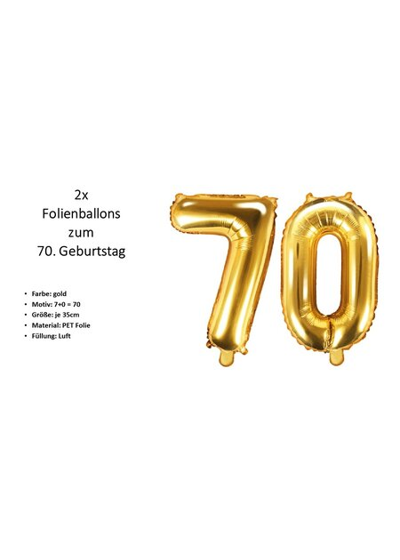 8 Teile Happy Birthday Zahlenballon 70 in gold