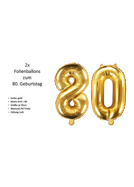 8 Teile Happy Birthday Zahlenballons 80 in gold