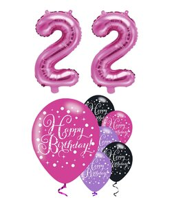 Happy Birthday 22 Jahre  in pink metallic
