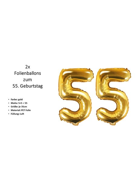 8 Teile Happy Birthday 55 in gold