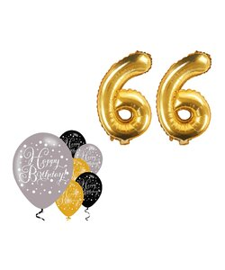 8 Teile Happy Birthday 66 in gold