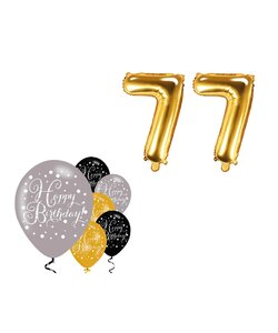 8 Teile Happy Birthday 77 in gold