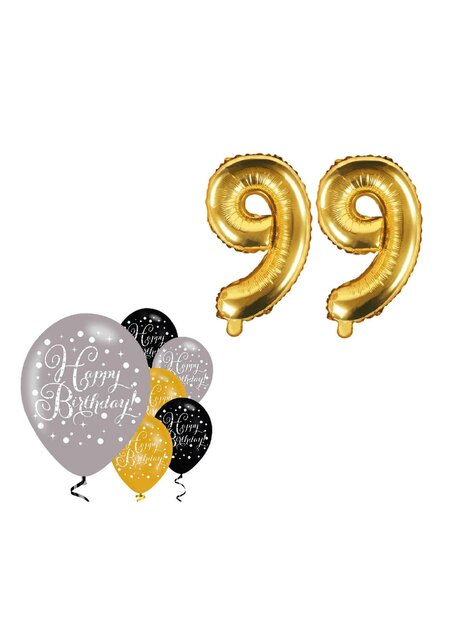 8 Teile Happy Birthday 99 in gold