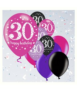 12 Teile Happy Birthday Luftballons 30 in pink