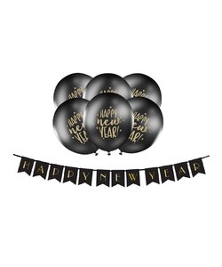 Girlande Happy New Year black mit Luftballons