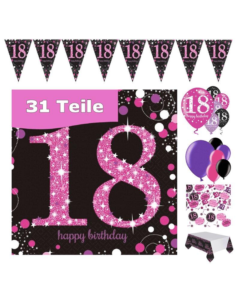 Party Deko Zum 18 Geburtstag Pink Schwarz Violett 31 Teile Rosen