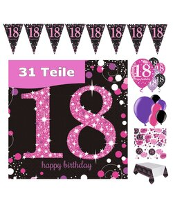 31 Teile Happy Birthday 18 Deko Set pink