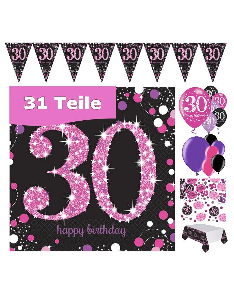Party Deko Zum 30 Geburtstag Pink Schwarz Violett 31 Teile Rosen