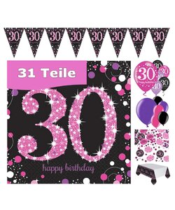 31 Teile Happy Birthday 30 Deko Set pink
