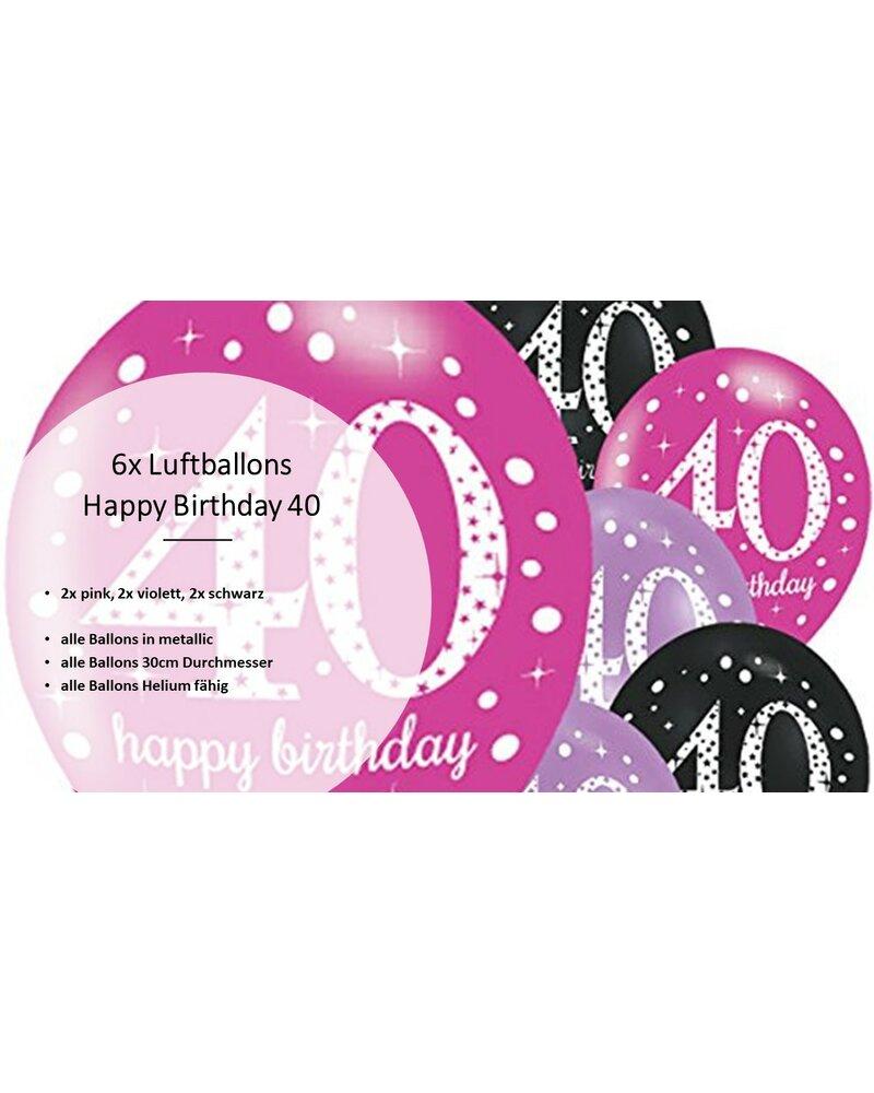 Party Deko Zum 40 Geburtstag Pink Schwarz Violett 31 Teile Rosen