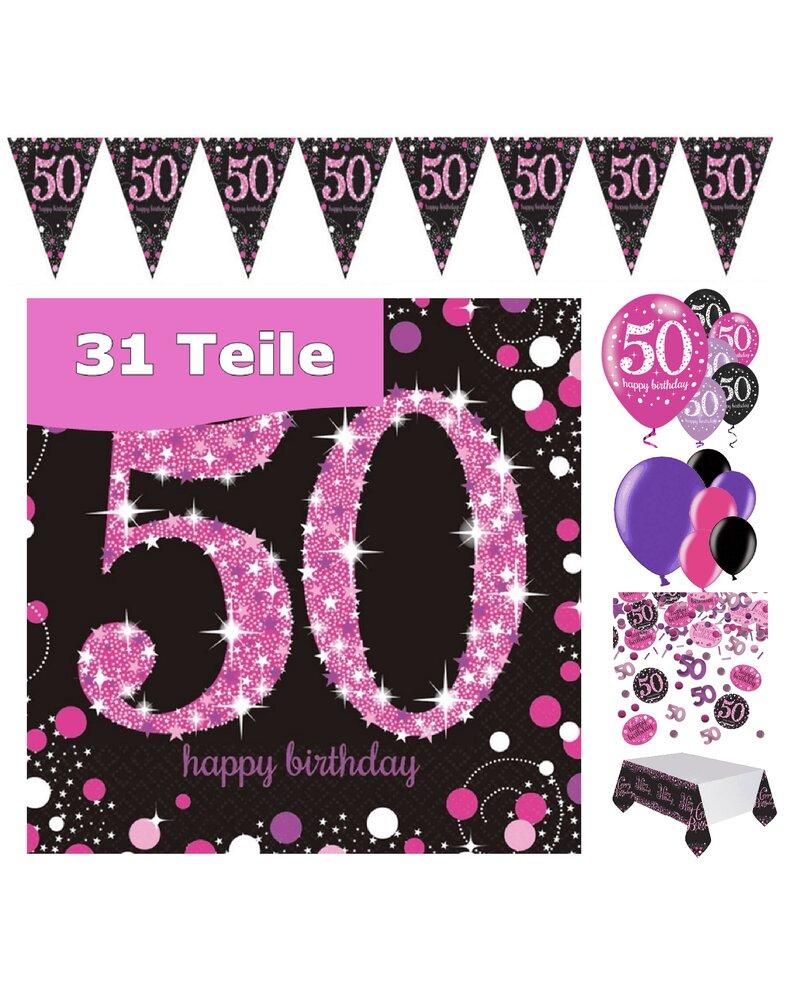 Party Deko Zum 50 Geburtstag Pink Schwarz Violett 31 Teile Rosen