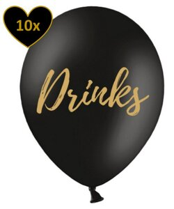 10x Luftballons in Schwarz -  Drinks