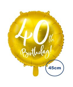 Folienballon 40th Birthday Gold 45cm