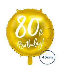 Folienballon 80th Birthday Gold 45cm