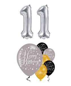 Happy Birthday 11 Jahre in silber metallic