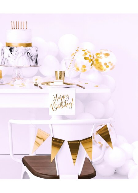 Servietten Happy Birthday in weiß mit Folienprint in rose gold